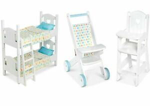 Childrens Baby Doll Pretend Play Wooden Stroller Buggy Bunk Beds Melissa & Doug