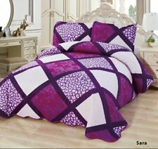 3-Pcs Super Soft QUEEN Quilted Reversible VELVET Bedspread Coverlet Set - SARA
