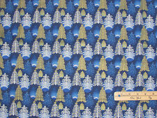 Seasons Greetings 2016 Blue Trees Christmas Fabric by the 1/2 Yard #62101