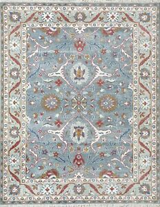 Blue Mohair Wool Area Rug, Fresh Floral Rug , Luxury Traditional 8x10 -7129