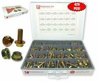 Grade 10.9 Metric Flange Bolt & Flange Nut Assortment 429 Piece Kit Yellow Zinc
