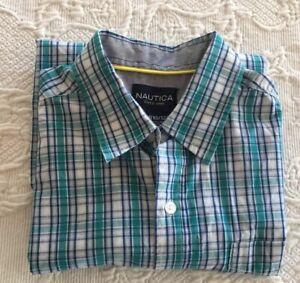 NAUTICA Boys Shirt LS Button Down Green Blue White Plaid Boy 10-12 w Pocket
