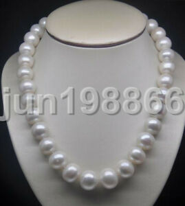 """18"""" Natural huge 11-12mm AA freshwater Cultured white pearl necklace"""