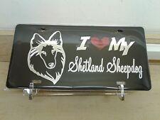 I Love My Shetland Sheepdog (black) acrylic mirror laser cut license plate dog