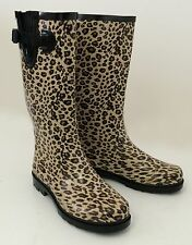 New Women's Wellies Flat Snow & Rain Boots Rainboots - Leopard, Size 5-11