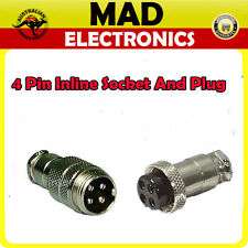 4 Pin inline Female Socket and Male Plug  Connectors Pair Power Micphone