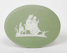 A Wedgwood Green Jasper Ware Oval Plaque Mother & Daughter - Antique