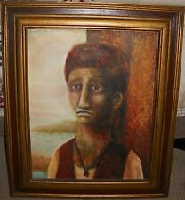 Oil Painting of an Abstract Sad Faced Boy by James Kokonis 1969