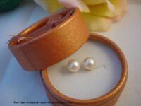 Ohrstecker 14Kt. / 585er Gold Echte Perlen Weiß 8mm AAA Qualität TOP Geschenk