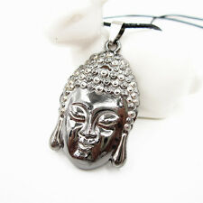 "18"" Stainless Steel Buddha Head Pendant Leather Punk Chain Necklace"