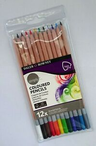 Simply Daler Rowney Coloured Pencil Set of 12 Assorted Colours Triangular Grip