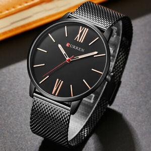 Curren Simple Men Wrist Watch Mesh Stainless Steel Band Waterproof Quartz Watch