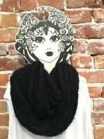 INC Black Chenille Textured Loop Fashion Soft Infinity Scarf O/S New