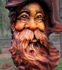 Wood Spirit Carving Tree Wizard Log Home Gnome Cabin Folk Art Sculpture Knothead