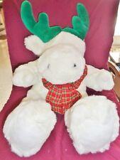"Moose Christmas Tarsha International 1993 White Green Antlers 18"" Stuffed Plush"