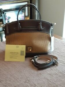 $298 Dooney & Bourke Woven Beacon Leather Domed Satchel Tote Shoulder Bag Brown