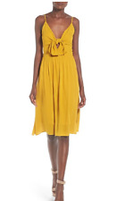 Leith Tie Front Dress Tan Mustard Sz XL party cocktail NEW Tags $72