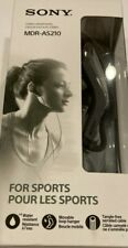 Sony MDR-AS210 Sports Sweatproof In-Ear Earbud Wired Headphones - Black (NEW)