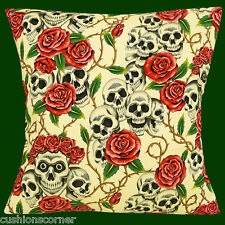 "BRAND NEW LARGE SKULLS PINK ROSES NATURAL DAY OF THE DEAD 16"" Cushion Cover"