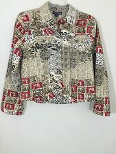 Candy Couture Womens Shirt Brown Floral Blazer Jacket Sz Extra Large XL Sequins