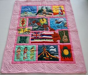 Hawaiian quilt baby blanket  wall hanging hand quilted/machine appliquéd PINK