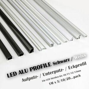 LED Profil Aluprofil Aluminium Rail Baguette Profile Pour Led-Bande Anodisé Set