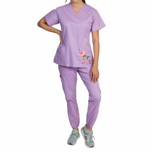 Medgear Blossom Women's Floral Embroidery Scrubs Stretch Jogger Set