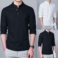 Fashion Men Flax Long Sleeve Slim Fit Shirt Casual Mandarin Collar Top Tee Shirt