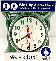 Westclox Wind-Up Mechanical Alarm Clock w/Loud Bell Alarm Analog Display White