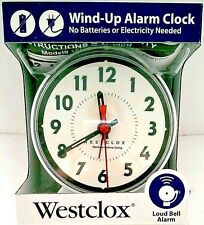 Westclox Mechanical Wind-Up Alarm Clock with Loud Bell Alarm New White