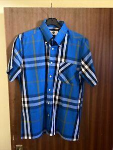 "Art Gallery Clothing Slim Fit L XL Large Check Blue 22.5"" P2P Shirt"