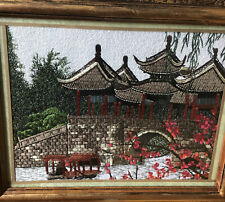 More details for japanese silk tapestry needlework  18x15 pagoda bridge red blossom exquisite