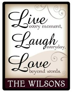 Live Love Laugh Family PERSONALIZED STICKER Decal Sign Home Foyer Kitchen GIFT