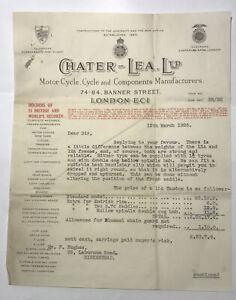 Rare Vintage 1926 Chater Lea 15A TANDEM ENDRICK RIMS BUILD Receipt Invoice £23