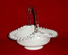 """Vintage FENTON SILVER CREST MILK GLASS BASKET 9-1/4""""H Art Glass"""