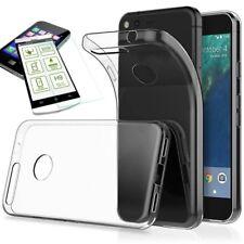 Étui en Silicone Transparent + 0,3 H9 Verre Trempé pour Google Pixel 2 XL Housse