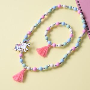 NEW Nette Einhorn Quaste Holz Perle Kinder Halskette Armband für Kinder Geschenk