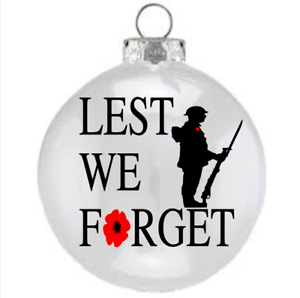 """X2 Vinyl Decal """"LEST WE FORGET SOLDIER  , for Wine Glass , Bauble"""