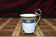 """Tiger Yidi Inc. Fine Porcelain Footed Coffee Cup Blue Gold Design 3 3/8""""x2 5/8"""""""