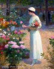 At the Flower Market by Victor G.Gilbert Art Woman Summer Blooms 8x10 Print 0466