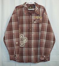 Akademiks Button Front Shirt Men's 2XL Multi-Color Plaid Long Sleeve