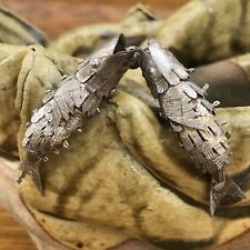 ANTIQUE SILVER MEXICO ARTICULATED FISH EARRINGS