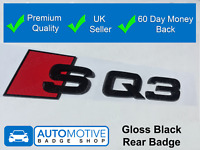 Audi SQ3 Gloss Black Rear Boot Badge Trunk Sticker Lettering Gloss Black Out