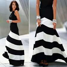New Women Ladies Black White Stripe Chiffon Sleeveless Party Cocktail Maxi Dress