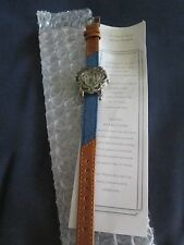 AVON *WESTERN STYLE HEART WATCH WITH GENUINE BLUE/BROWN LEATHER STRAP*NEW* RARE
