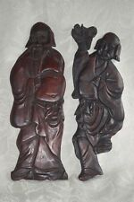 "Large Vintage China Figural Red Wood WALL PLAQUES Man and WOMAN 17"""" tall"