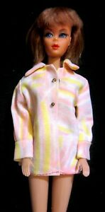 Vintage Barbie Doll Francie Clone Clothes -Pink Purple Yellow Swirl Jacket - EXC