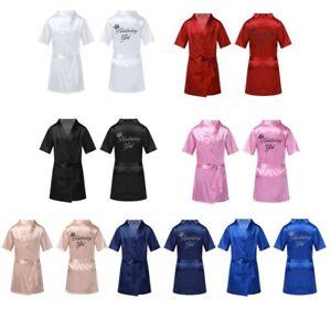 Kids Girls Silk Satin Robes Nightgowns Short Sleeves Spa Party Pajamas Sleepwear