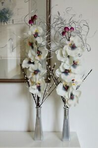Set of 2 silver Orchids in GLASS vases - wedding tables display lounge