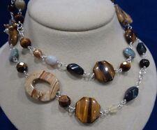 """J.King Sterling Silver Tiger Eye & Gemstone Necklace 28"""" Signed"""